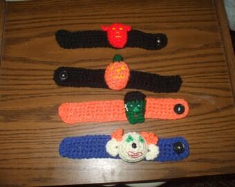 4 crocheted halloween bracelets