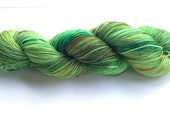 Hand Dyed Yarn - Merino / Nylon - Fingering Weight / Sock Weight Color Change - speckled emerald, kelly green, orchid, gold