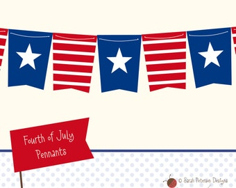 Fourth of July Stars & Stripes Pennants - Instant Download Printable