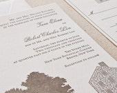 NYBG Stone Mill Wedding Invitation, Letterpress printed SAMPLE