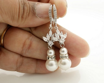 Pearl Drop Wedding Earrings Cubic Zirconia Bridal Earrings Swarovski Pearls Crystal Wedding Jewelry Pearl Dangle Earrings, Bree
