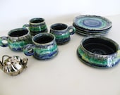 French / Italian Blue Green Art Pottery,  Cups Plates  Bowl,. Mid Century Modern