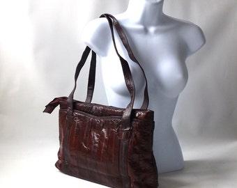 vintage 1970's eel skin purse clutch maroon red womens fashion handbag shoulder bag mid century retro animal leather accessories accessory