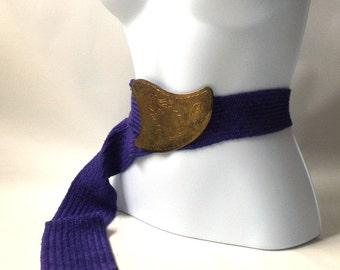 vintage 1980's belt OSFA womens fashion clothing hippie boho retro small medium large xl 1x pair brass belt buckle purple violet sash