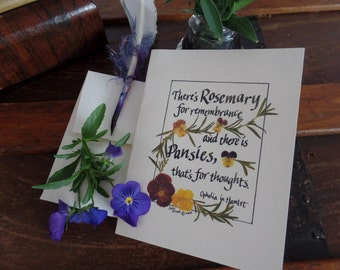Shakespeare quote card. Hamlet, Ophelia, Renaissance, wholesale,rosemary, pansies, thinking about you, get well, recycled paper