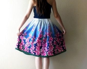 Blue Pink Floral Skirt, Pink High waisted Trendy Skirt, Elastic Waistband Skirt  Floral Print Skirt High Waist Skirt