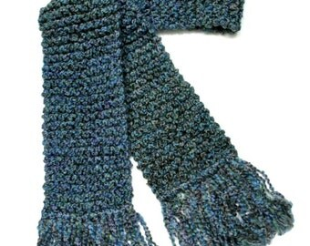 Blue Knit Scarf, Chunky Long Scarf, Hand Knit Scarf, Men or Women Scarf, Knitted Winter Scarf, Blue Green Scarf, Teal Blue Scarf