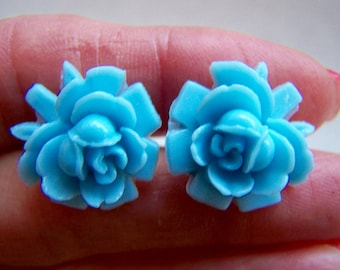 Blue Rose Earrings - Resin Floral Stud Earrings Doodaba