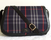 Vintage Burberry handbag / blue and red plaid made in England