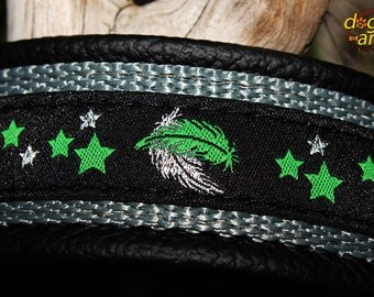 "Dog Collar ""Feather"" by dogs-art, leather dog collar, collar sale, collar clearance, feather, dog collar leather, black leather collar, dog"