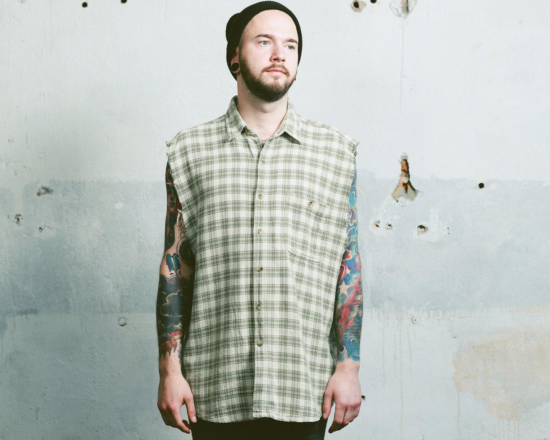 Vintage RIPPED Shirt   SLEEVELESS Plaid Tank Top Mens 1990s