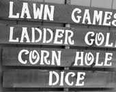 lawn game Signs 5 extra LARGE outdoor weddings yard corn hole ladder golf rustic back yard wood recycled prop party sign