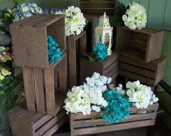 rustic flower box centerpiece , Wooden Crates ,Rustic wedding , wedding reception , table centerpiece , rustic home decor , wedding crates
