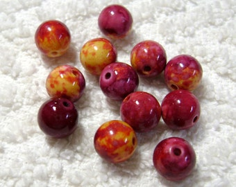 Yellow And Red Marbled Glass Beads - (12 Pcs) - (8mm) - B-1587