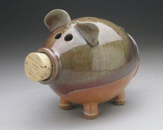 Handmade ceramic piggy bank green red and copper shino for Handmade coin bank