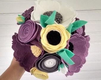 Wedding bouquet, wool felt flower bouquet, flower arrangement, bridesmaid bouquet, purplee flower bouquet, wildflower bouquet, wedding decor
