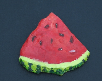 "Painted Rock, art and collectibles, acrylic, watermelon slice, 3"" x 3"""