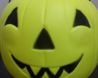 Neon Yellow Pumpkin Trick or Treat Bucket