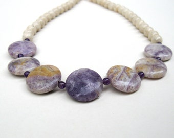 Russian Charoite, Riverstone & Amethyst necklace, purple necklace, purple pendant necklace