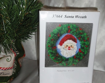 Christmas Decoration Santa Face In A Wreath Graph And Latch Hook Rug Wall Decor Kit