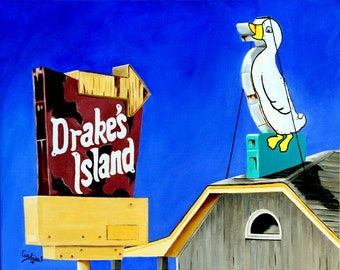 "DRAKE'S DUCK Wells Maine landmark Drakes Island beach summer vacation painting Sandrine Curtiss Original Art 16x20"""