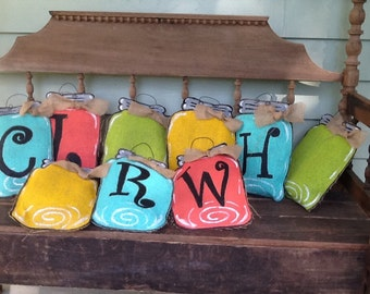 Burlap painted Mason jar Door Hanger monogrammed Your choice color and Initial