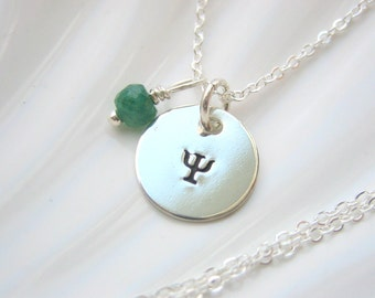 Greek Letter Birthstone Necklace - Hand Stamped  - Sterling Silver - Personalized