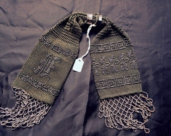 Exceptional Antique Victorian 1890 Deep Green Crochet Beaded Miser Bag Purse