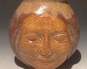Face Vase Ceramic Ikebana Buddha Head Figure Sculpture Vessel Storage Pot Dark Moon Jar