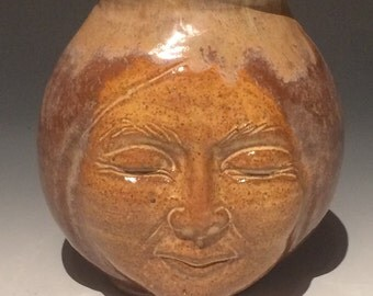 Face Vase Ceramic Ikebana Buddha Head Figure Sculpture Vessel Storage Pot Dark Moon Jar