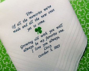 GROOM Handkerchief Custom Embroidered Wedding Hankerchief-Bride to Groom Hankie Husband to be Hanky