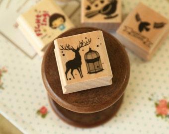 Reindeer WG-04 Wood Stamp Happy Mori rubber stamp