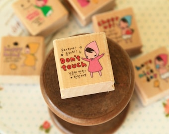 DONT TOUCH Pony Brown Red Riding Hood Girl wood rubber stamp