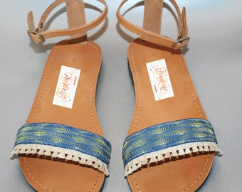 Leather Sandals, Boho Sandals, Ankle, Strap Sandals, Blue Silk Lace, Cream Fringe Lace, Greek Sandals, Blue & Green Lace, Handmade Sandals