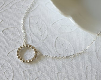 Textured Circle Necklace - Sterling Silver Circle - Simple Necklace - Everyday Jewelry - Dainty Necklace - Everyday Necklace