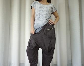 Men Women Funky Ninja Harem Charcoal Cotton Jersey Drop Crotch Pants With Patched & Zipped Pockets