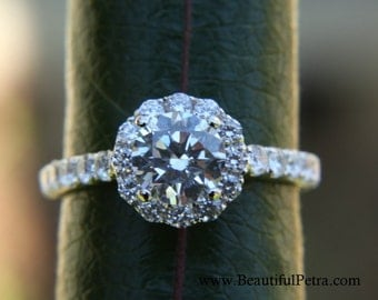 Diamond Engagement Ring  -14K white gold - 1.35 carat - Round - Flower Halo - Pave - Antique Style - Bp0014