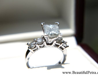 GIANT Princess and Round Cut - 18K White Gold  - 5 Stone - Diamond Engagement Ring - engagement - brides - bp007