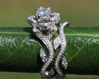 Platinum - BLOOMING Work Of Art - Flower Leaf Rose Lotus Diamond Engagement Wedding Ring Set - No Milgrain - brides - fL07 - Patented design
