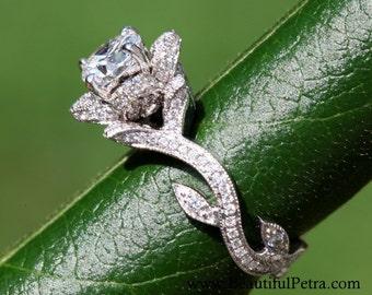 BLOOMING Work Of Art - Flower Rose  Lotus Diamond Engagement Ring - Milgrain - Beauty - Flower - 14K - Vine - leaves - fL07 Patented design