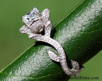BLOOMING Work Of Art - Platinum Flower Rose Lotus Diamond Engagement or Right Hand Ring - Milgrain - Beauty - Flower - Vine - leaves - fL07