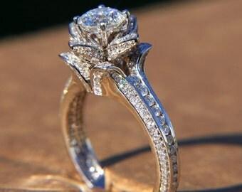 Platinum - Gorgeous UNIQUE Flower Rose Diamond Engagement Ring - 2.00 carat  - wedding - brides - custom made - art deco - fL01