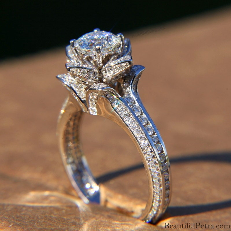 ... Flower Rose Diamond Engagement Ring - 2.00 carat - wedding - brides.  🔎zoom