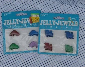 Trains and Cars, Jelly Jewels Jelly Shapes Embellishments , Plastic Flat Backs