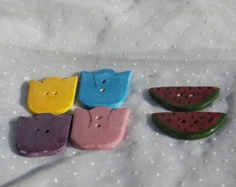 Tulips and Watermelons 4 Ceramic Buttons for Crafting and Creating