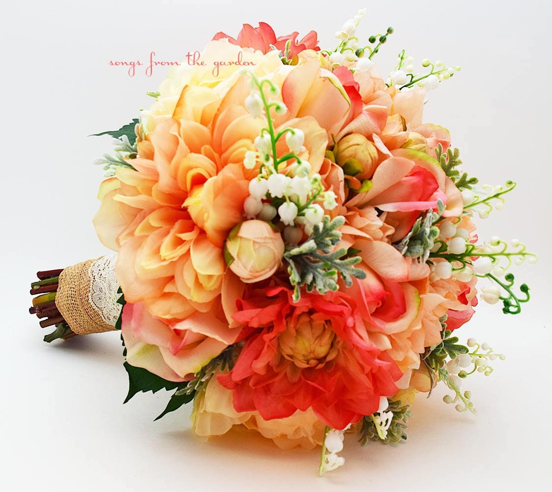Coral peach grey bridal bouquet lily of the valley dahlias - Rosas color coral ...