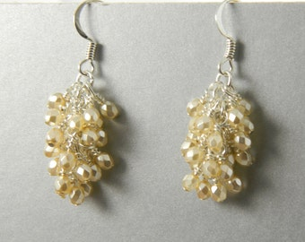 Cream Dangle Earrings with Surgical Steel Ear Wires
