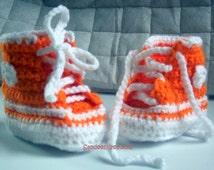 Crochet Booties Tennis Shoes Booties, Orange HighTops, Baby Booties, Baby Shoes 3-6 month size,Baby Shower Gifts,Newborn Booties