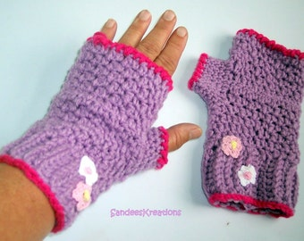 Lilac Gloves, Winter Gloves Crochet Fingerless Gloves, Womens Gloves,Womens Handwarmers,Texting Gloves