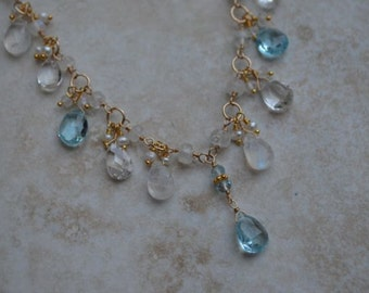 Moonstone blue topaz summer wedding necklace gold